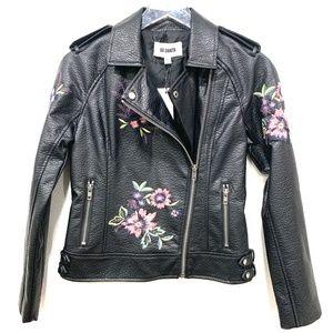 BB Dakota Faux Leather Moto Jacket XS Floral